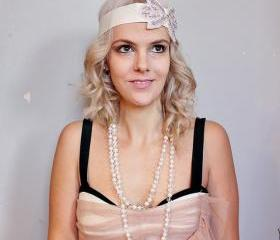 1920s cream ribbon applique beaded headband