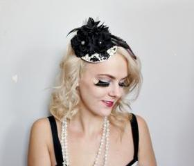 black lace head piece // fasinator, sequins, black flowers, feather hair piece, red tulle