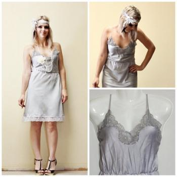 Flapper 1920s Vintage Slip Make Over hand dyed grey with beading Roaring 20s