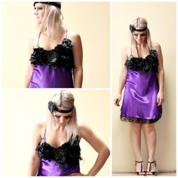 Flapper 1920s Vintage Slip Make Over Purple and Black Roaring 20s